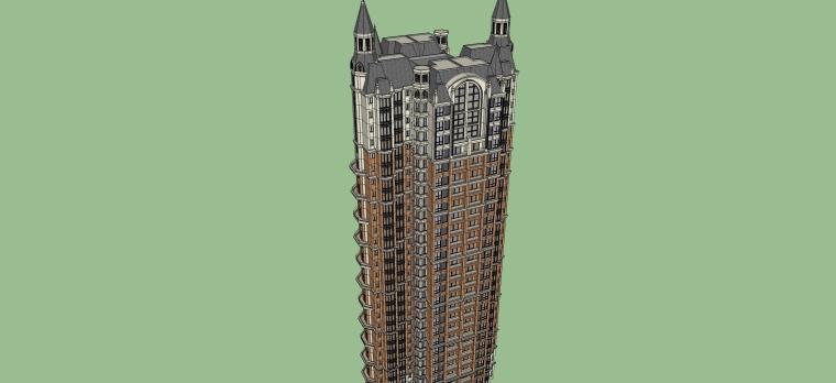 英式风格高层住宅建筑设计SU模型