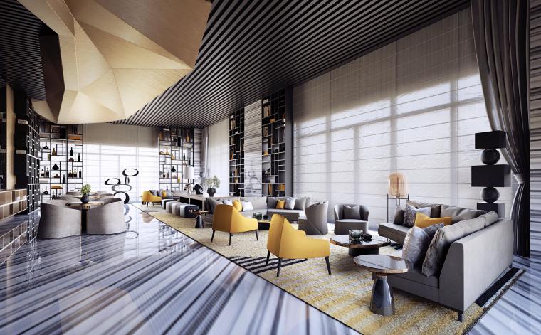 几何风|现代酒店大堂交流区设计3D模型(附效果图)