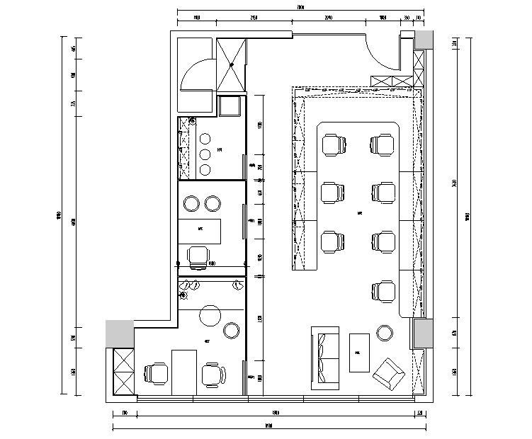 小清新逸迩工作室设计施工图(附效果图)