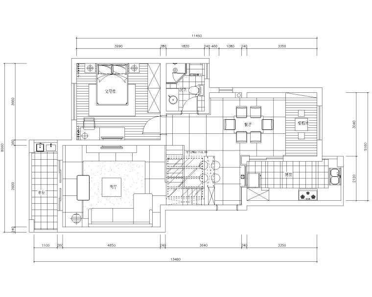 [苏州]常熟老街160平复式加跃层室内装修设计施工图