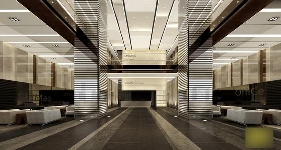 [江苏]国际综合性投资集团塔楼办公楼公共空间设计施工图(含效果)办公大堂效果图