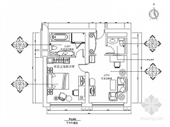 酒店客房(标准客房和商务套房)室内设计施工图