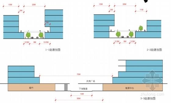 [福建]多层双圆环性商业建筑设计方案文本(知名设计院)-多层双圆环性商业建筑设计剖面图