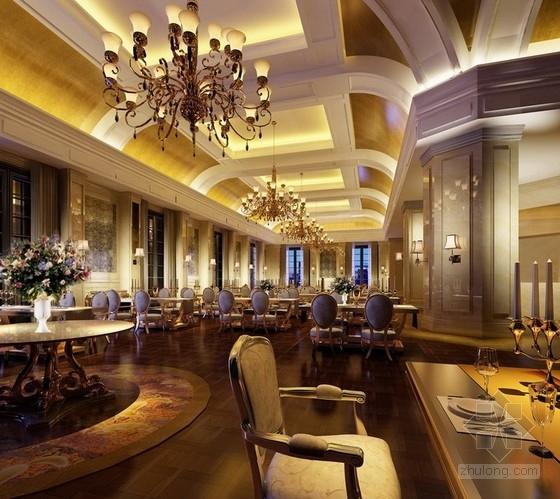[天津]渤海之巅度假旅游区铂金超五星级酒店设计方案自助西餐厅效果图
