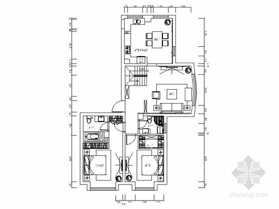 [河北]浪漫180平欧式两层复式别墅装修室内设计施工图(含效果)图片