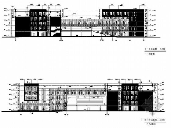 [武汉]五层框架结构重点大学石油科技中心结构施工图(含建筑图)