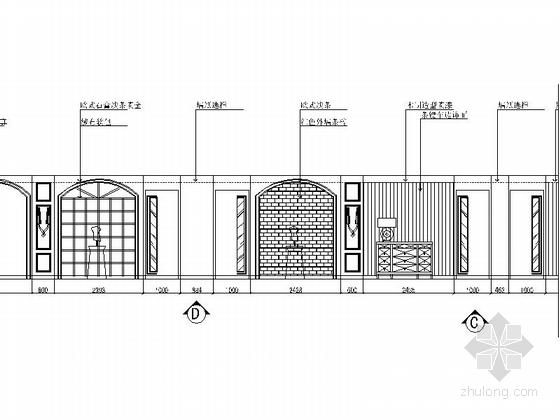 [武汉]商业街大型综合量贩时尚古典KTV装修图(含效果)过道立面图