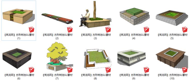 46套方形景观树池SU素材(1-25)