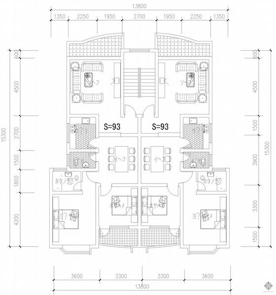 板式多层一梯二户户型图(102/102)