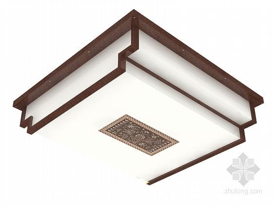 中式方形吸顶灯3D模型下载