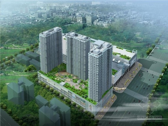 [西安]现代风格商业综合体建筑设计方案文本(含住宅建筑)