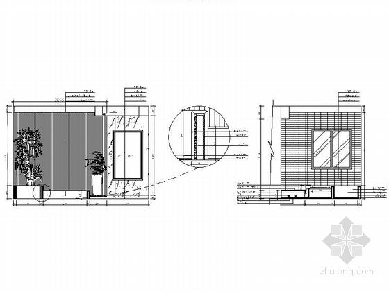 [湖南]高档样板房三居室设计CAD施工图(含效果)入户花园立面图