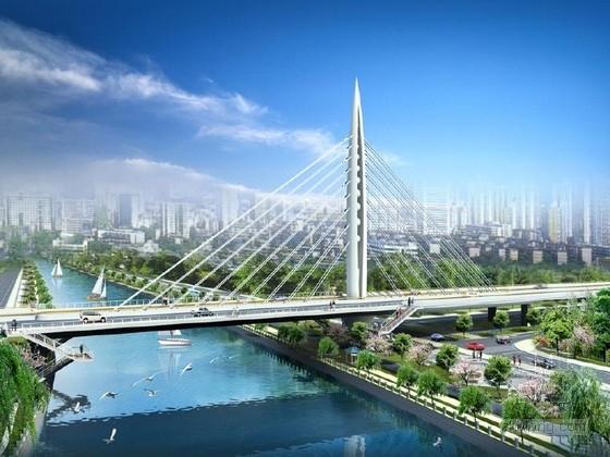 18对斜拉索独塔单索面PC部分斜拉桥图纸95张(桥宽36米 知名大院)