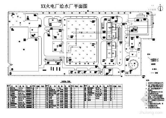 某火电厂给水厂平面图高程图(毕业设计)