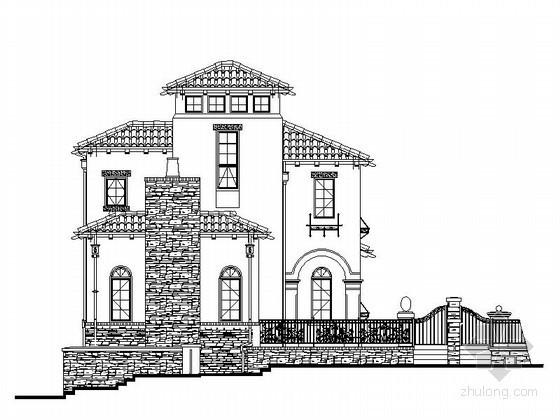 [郑州]某湖别墅区二层西班牙式别墅建筑施工图