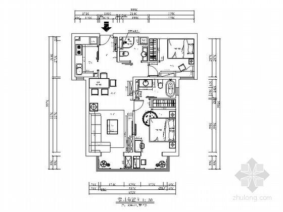 [北京]西城区某现代两室两厅两卫装修图