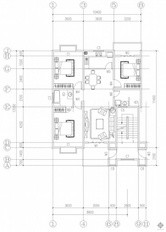 板式多层一梯两户三室一厅二卫户型图(119/119)