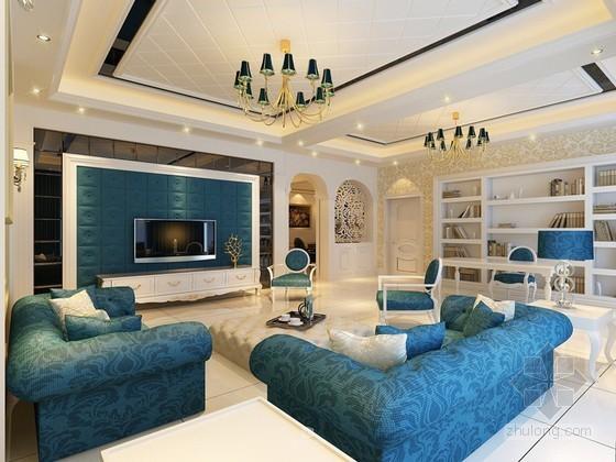 白色调欧式客厅3D模型下载