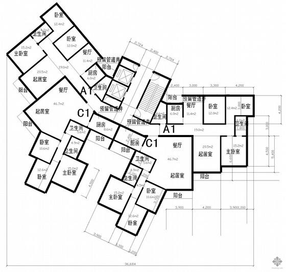 塔式高层一梯四户公寓建筑户型图(121/114/154/147)