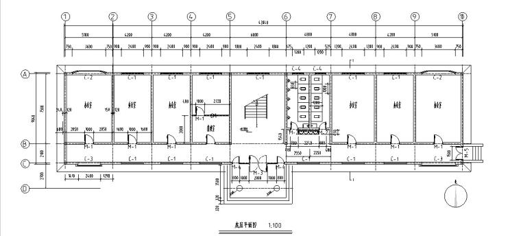 5套商务办公楼建筑设计施工图CAD-多层办公楼建筑设计平面图2
