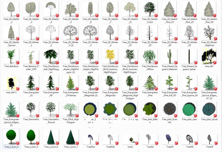 500个常用针叶、阔叶景观植物模型合集