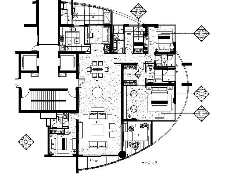 [珠海]现代简约时尚大气样板房室内设计施工图(含效果图)