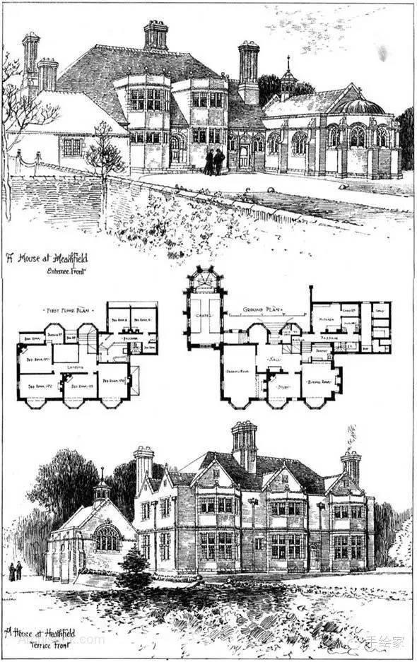 百年经典建筑设计手绘图_21