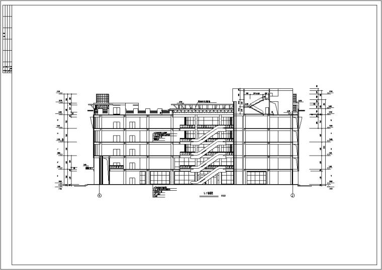 现代多层宾馆酒店建筑设计施工图CAD-现代多层商业建筑设计立面图3