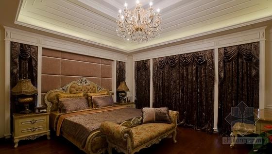 [上海]鸟语花香古典欧式风格独栋别墅样板间装修施工图(含高清实景)卧室实景图