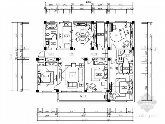 [江苏]美式乡村混搭风情四居室样板间CAD装修施工图(含效果及软装方案)
