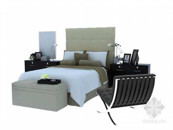 现代大床3D模型下载