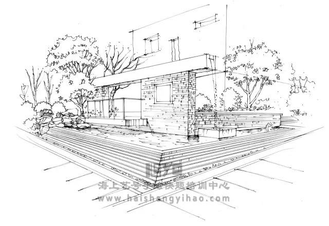 景墙的画法步骤图解析:庭院中间有道墙_9