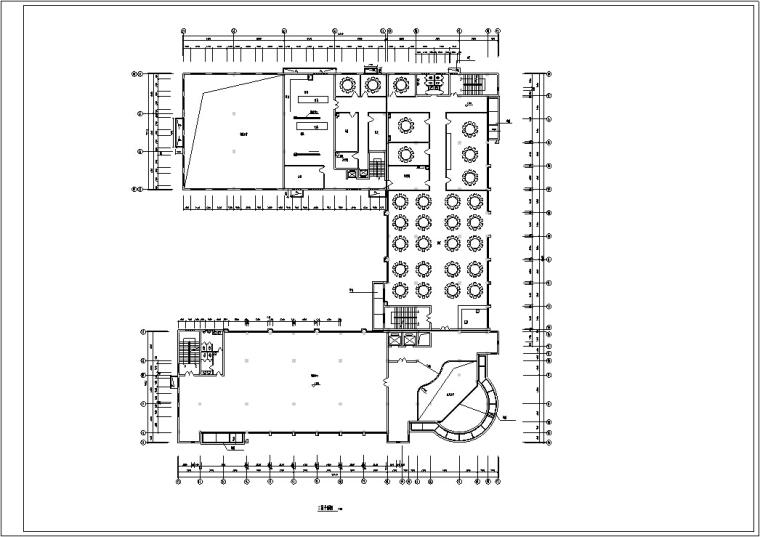5套商务办公楼建筑设计施工图CAD-多层办公综合楼建筑设计平面图