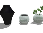 [SU模型]500个室内植物盆栽 花瓶摆件 SU模型合集(2)
