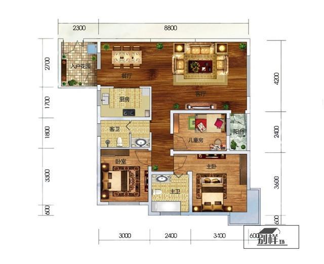 第三城紫曼园G3户型108㎡ 地中海风格装修案例