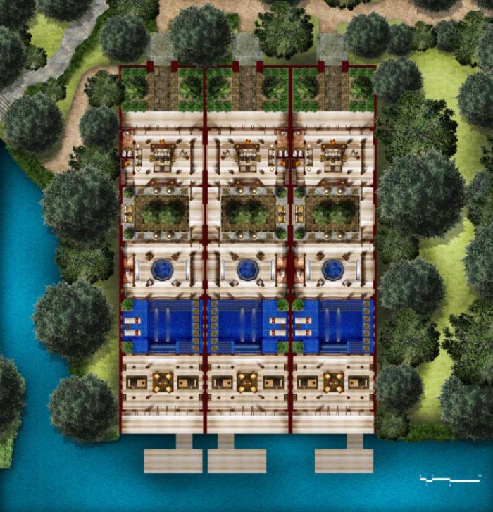 [广东]依山傍水温泉度假村旅游景观规划设计概念方案图