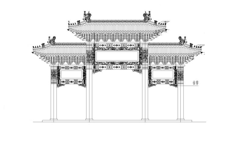四柱三楼牌坊CAD图纸