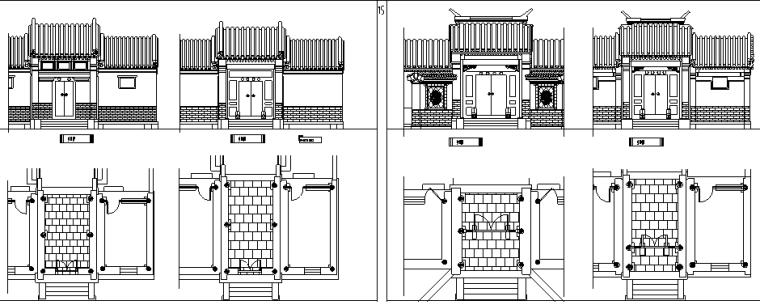 u型楼梯cad图块资料下载-常用中式雕花门窗CAD素材图块