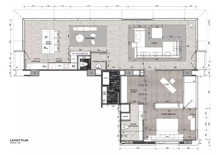 130m² 的单身公寓,如何打造出超级豪宅的设计气质!