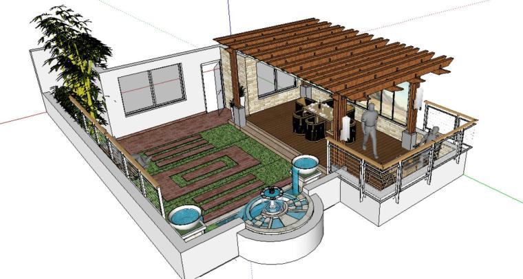 小庭院景观模型廊架设计-场景一