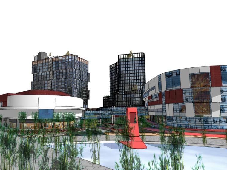 现代商业建筑SketchUp模型下载_1