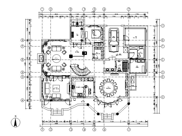 美式风格别墅设计cad施工图(含效果图)