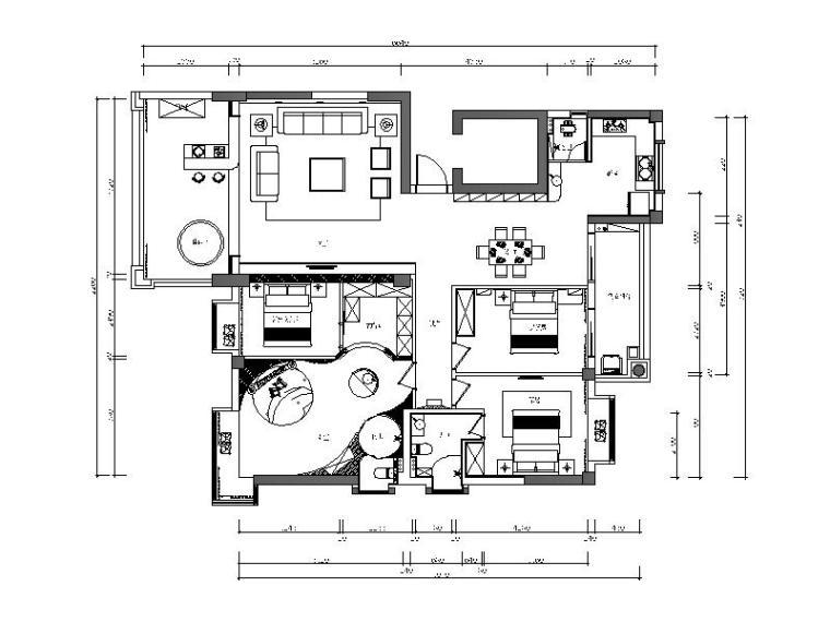 现代简约风格样板间设计全套CAD施工图(含效果图)