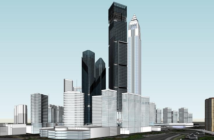 办公住宅区一体化城市设计方案sketchup模型1