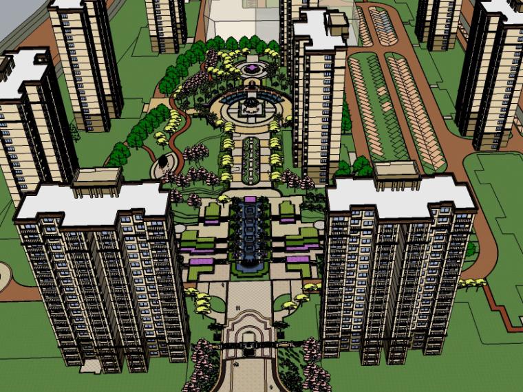 简约欧式海湾新城居住区景观SU模型