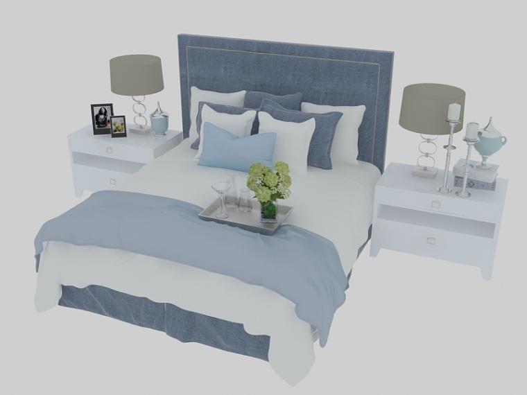舒心柔软双人床3D模型下载