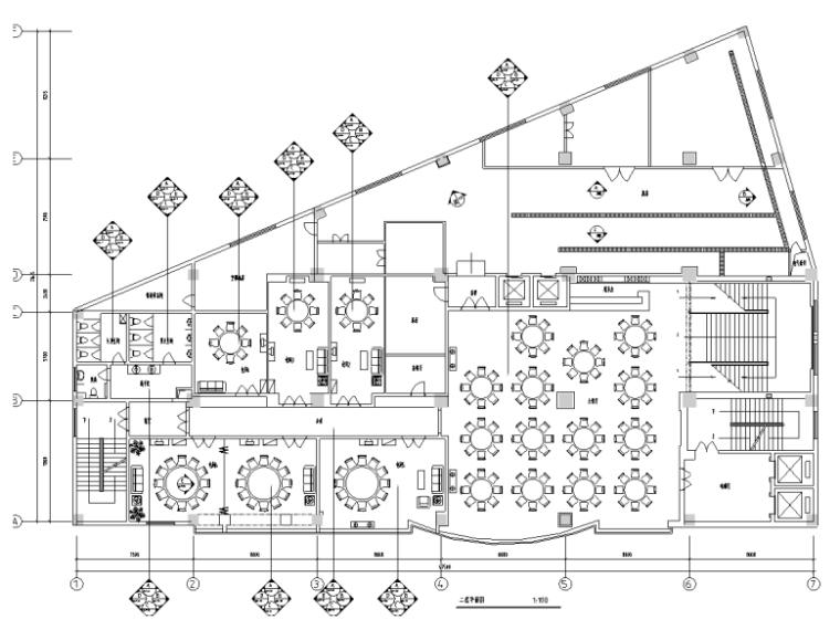 [河南]新中式风格中餐厅装修施工图图(含效果图)