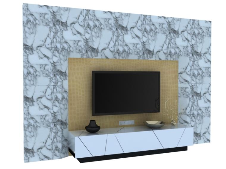 简约石材背景墙3D模型下载