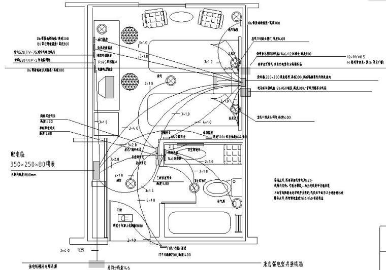 宾馆客房机械式集控板电器布线图