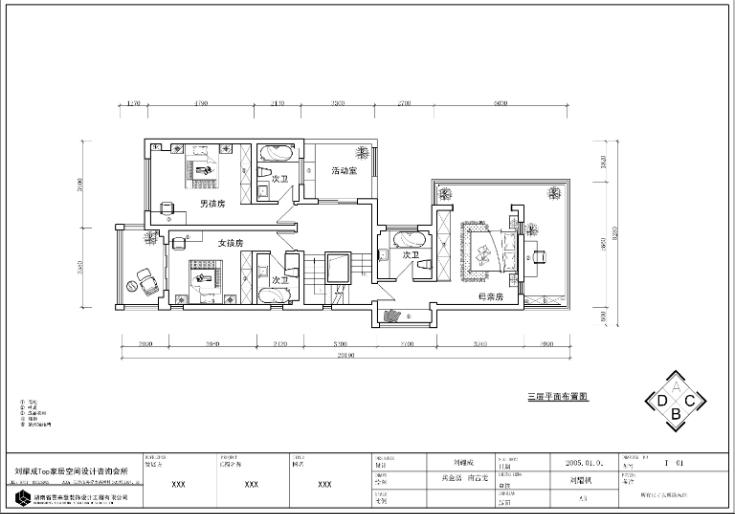 某中式风格联排别墅室内装修设计施工图及效果图-三层平面布置图